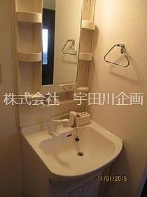 独立洗面台はハンドシャワー付きです。